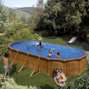 Kit piscine hors-sol Mauritius acier aspect bois ovale 4 renforts 610 x 375 x H132 cm