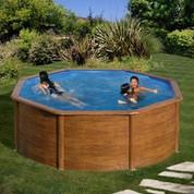 Kit piscine hors-sol Mauritius acier aspect bois ronde Ø350 x H132 cm