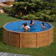 Kit piscine hors-sol Mauritius acier aspect bois ronde Ø460 x H132 cm
