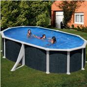 Kit piscine hors-sol Rattan acier aspect rotin ovale 2 renforts 500 x 300 x H132 cm