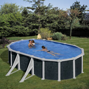 Kit piscine hors-sol Rattan acier aspect rotin ovale 4 renforts 610 x 375 x H132 cm