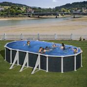 Kit piscine hors-sol Rattan acier aspect rotin ovale 6 renforts 730 x 375 x H132 cm