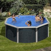 Kit piscine hors-sol Rattan acier aspect rotin ronde Ø350 x H132 cm