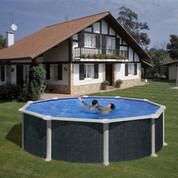 Kit piscine hors-sol Rattan acier aspect rotin ronde Ø460 x H132 cm