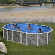 Kit piscine hors-sol Santorini acier aspect pierre ovale 2 renforts