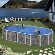 Kit piscine hors-sol Santorini acier aspect pierre ovale 3 renforts
