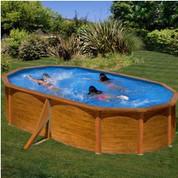 Kit piscine hors-sol Sicilia acier aspect bois ovale 2 renforts 500 x 300 x H120 cm