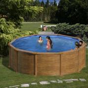 Kit piscine hors-sol Sicilia acier aspect bois ronde Ø300 x H120 cm