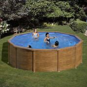 Kit piscine hors-sol Sicilia acier aspect bois ronde Ø350 x H120 cm
