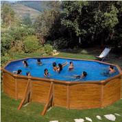 Kit piscine hors-sol Pacific acier décor bois ovale 610 x 375 x H120 cm