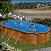 Kit piscine hors-sol Pacific acier décor bois ovale 730 x 375 x H120 cm