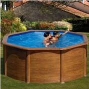 Kit piscine hors-sol Pacific acier décor bois ronde Ø240 x H120 cm