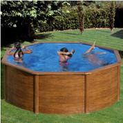 Kit piscine hors-sol Pacific acier décor bois ronde 350 x H120 cm