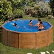 Kit piscine hors-sol Pacific acier décor bois ronde 460 x H120 cm