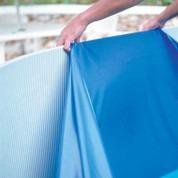 Liner bleu uni overlap piscine hors sol ronde Ø 400 x 90 cm 20/100