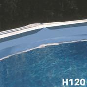 Liner bleu uni piscine hors sol ovale 610 x 375 x 120 cm 40/100
