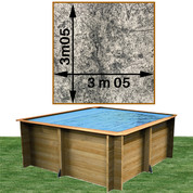 Piscine bois woodfirst original carrée 305 x 305 x 120 cm stone gris