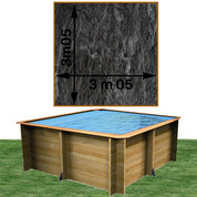 Piscine bois Woodfirst Original carrée 300 x 300 x 120 cm liner ardoise