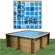Piscine bois Woodfirst Original carrée 300 x 300 x 120 cm liner persia bleu