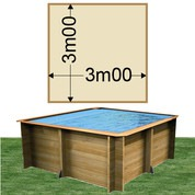 Piscine bois Woodfirst Original carrée 300 x 300 x 120 cm liner sable