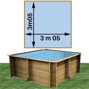 Piscine bois Woodfirst Original carrée 305 x 305 x 120 cm liner bleu pâle