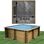 Piscine bois Woodfirst Original carrée 305 x 305 x 120 cm liner gris volcan
