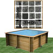 Piscine bois Woodfirst Original carrée 305 x 305 x 120 cm liner persia anthracite