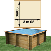 Piscine bois Woodfirst Original carrée 305 x 305 x 120 cm liner sable