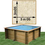 Piscine bois Woodfirst Original carrée 305 x 305 x 120 cm liner stone sable