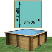 Piscine bois Woodfirst Original carrée 305 x 305 x 120 cm liner vert caraïbes