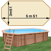 Piscine bois Woodfirst Original octo allongée 551 x 351 x 120 liner sable