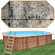 Piscine bois Woodfirst Original octo allongée 551 x 351 x 120 liner stone gris
