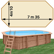 Piscine bois Woodfirst Original octo allongée 735 x 410 x 138 cm liner sable