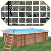 Piscine bois Woodfirst Original octo allongée 755 x 456 x 146 cm liner persia anthracite