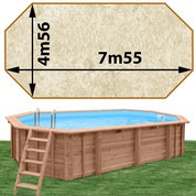Piscine bois Woodfirst Original octo allongée 755 x 456 x 146 cm liner stone sable