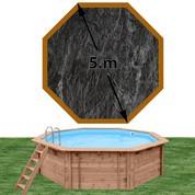 Piscine bois Woodfirst Original octogonale 500 x 127 cm liner ardoise