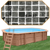 Piscine bois Woodfirst Original Octogonale allongée 637 x 412 x 133 liner persia anthracite
