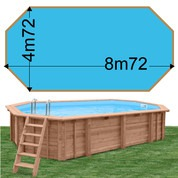 Piscine bois Woodfirst Original Octogonale allongée 872 x 472 x 146 liner bleu france