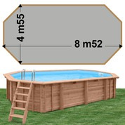 Piscine bois Woodfirst Original Octogonale allongée 872 x 472 x 146 liner gris clair