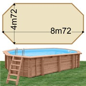 Piscine bois Woodfirst Original Octogonale allongée 872 x 472 x 146 liner sable