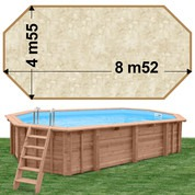 Piscine bois Woodfirst Original Octogonale allongée 872 x 472 x 146 liner stone sable
