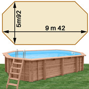 Piscine bois Woodfirst Original Octogonale allongée 942 x 592 x 146 liner sable