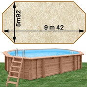 Piscine bois Woodfirst Original Octogonale allongée 942 x 592 x 146 liner stone sable