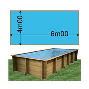 Piscine bois Woodfirst Original rectangulaire 600 x 400 x 133 cm liner bleu France