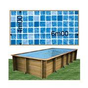 Piscine bois Woodfirst Original rectangulaire 600 x 400 x 133 cm liner persia bleu