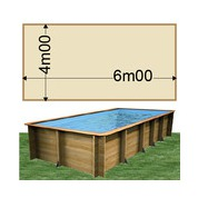 Piscine bois Woodfirst Original rectangulaire 600 x 400 x 133 cm liner sable