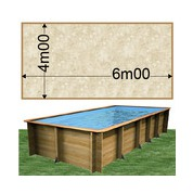 Piscine bois Woodfirst Original rectangulaire 600 x 400 x 133 cm liner stone sable