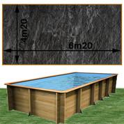 Piscine bois Woodfirst Original rectangulaire 620 x 420 x 133 cm liner ardoise