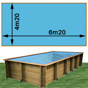 Piscine bois Woodfirst Original rectangulaire 620 x 420 x 133 cm liner bleu France