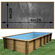 Piscine bois Woodfirst Original rectangulaire 620 x 420 x 133 cm liner gris volcan